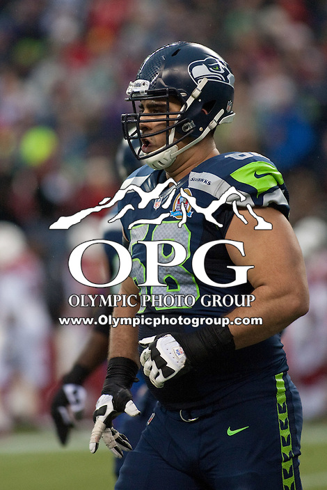 DEC 09, 2012:  Seattle's Breno Giacomini against Arizona.  Seattle defeated Arizona 58-0 at CenturyLink Field in Seattle, WA...