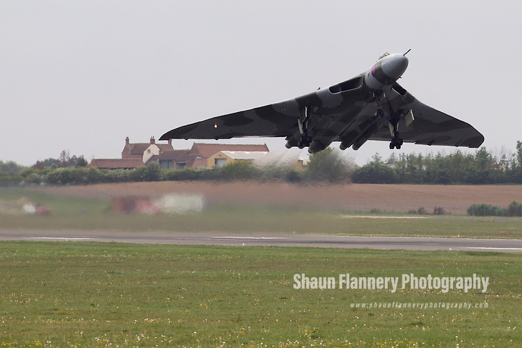 Pix: Shaun Flannery/shaunflanneryphotography.com...COPYRIGHT PICTURE>>SHAUN FLANNERY>01302-570814>>07778315553>>..26th April 2011.......Crew Currency Flight, Vulcan XH558 takes off from Robin Hood Airport Doncaster Sheffield
