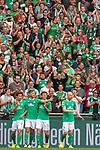 01.09.2019, wohninvest Weserstadion, Bremen, GER, 1.FBL, Werder Bremen vs FC Augsburg, <br /> <br /> DFL REGULATIONS PROHIBIT ANY USE OF PHOTOGRAPHS AS IMAGE SEQUENCES AND/OR QUASI-VIDEO.<br /> <br />  im Bild<br /> <br /> 1:0 durch Yuya Osako (Werder Bremen #08) gegen Tin Jedvaj (FC Augsburg #18) und Tomáš Koubek / Tomas (FC Augsburg #21)<br /> <br /> jubel<br /> <br /> Foto © nordphoto / Kokenge