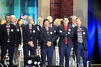 USA Team Players on stage at the Closing Ceremony after Sunday's Singles Matches of the 39th Ryder Cup at Medinah Country Club, Chicago, Illinois 30th September 2012 (Photo Colum Watts/www.golffile.ie)
