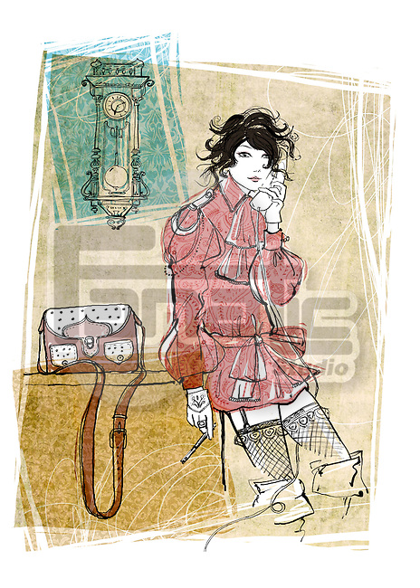 Illustration of woman using landline phone in house