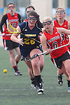 Santa Barbara, CA 02/18/12 - Rachel Stattler (Michigan #26) and Jenna Dreyer (Georgia #6) in action during the Georgia-Michigan matchup at the 2012 Santa Barbara Shootout.  Georgia defeated Michigan 12-10.