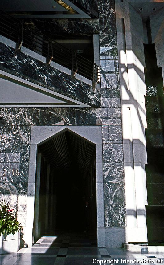 Helmut Jahn: One America Plaza, San Diego. Lobby.  Photo '92.