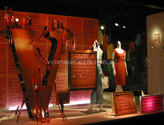 Barney's presents its 2003 spring collection. Valentine's Day window decoration at Barney's New York store on Madison Avenue. New York, January 26, 2003. ..Please byline: Alecsey Boldeskul/NY Photo Press.   ..*PAY-PER-USE*      ....NY Photo Press:  ..phone (646) 267-6913;   ..e-mail: info@nyphotopress.com