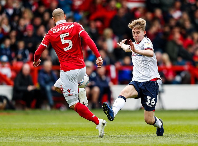 Bolton Wanderers' Harry Brockbank competing with Nottingham Forest's Adlene Guedioura <br /> <br /> Photographer Andrew Kearns/CameraSport<br /> <br /> The EFL Sky Bet Championship - Nottingham Forest v Bolton Wanderers - Sunday 5th May 2019 - The City Ground - Nottingham<br /> <br /> World Copyright © 2019 CameraSport. All rights reserved. 43 Linden Ave. Countesthorpe. Leicester. England. LE8 5PG - Tel: +44 (0) 116 277 4147 - admin@camerasport.com - www.camerasport.com