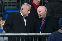 24th November 2019; McDairmid Park, Perth, Perth and Kinross, Scotland; Scottish Premiership Football, St Johnstone versus Aberdeen; Aberdeen chairman Stuart Milne (right) talks to director Dave Cormack who is reported to be taking over the chair at the club in the near future - Editorial Use