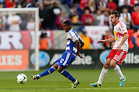 Erick (12) of FC Dallas passes the ball. The New York Red Bulls defeated FC Dallas 1-0 during a Major League Soccer (MLS) match at Red Bull Arena in Harrison, NJ, on September 22, 2013.