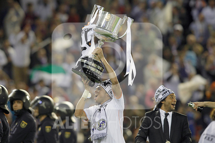 Real Madrid's Pepe celebrates the victory in the spanish KIng's Cup Final match.April 16,2014. (ALTERPHOTOS/Acero)