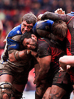 Forwards Peter Short and Kasiano Lealamanua get up close and personal as Bath attempt to muscle their way forward. Guinness Premiership match between Saracens and Bath on February 28, 2010 at Vicarage Road in Watford, England. [Mandatory Credit: Patrick Khachfe/Onside Images]
