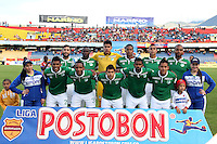 PASTO -COLOMBIA, 13-09-2014. Jugadores  del Deportivo Cali posan para una foto dfe grupo previo al encuentro con el Deportivo Pasto por la fecha 9 Liga Postobón II 2014 jugado en el estadio La Libertad de Pasto./ Player of Deportivo Cali pose to a photo group prior the match against Deportivo Pasto for the 9th date of Postobon  League II 2014 played at La Libertad stadium in Pasto. Photo: VizzorImage / Leonardo Castro / STR