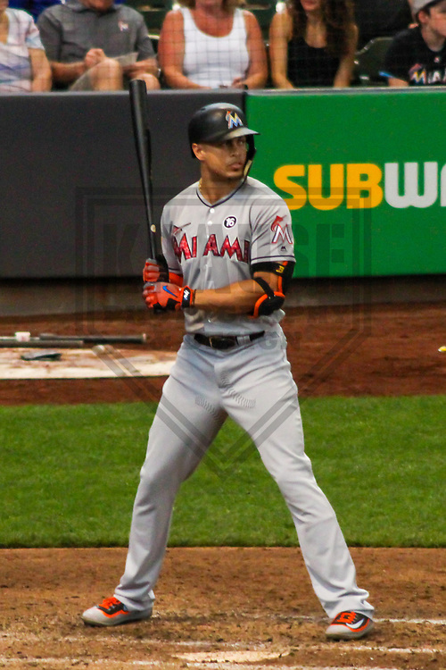 Miami Marlins outfielder Giancarlo Stanton (27) during a Major League Baseball game against the Milwaukee Brewers on July 2, 2017 at Miller Park in Milwaukee, Wisconsin.  Miami defeated Milwaukee 10-3. (Brad Krause/Krause Sports Photography)
