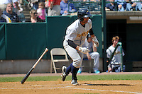 Ali Castillo (4) of the Trenton Thunder bats during a game against the New Britain Rock Cats at New Britain Stadium on May 7, 2014 in New Britain, Connecticut.  Trenton defeated New Britain 6-4. (Gregory Vasil/Four Seam Images)
