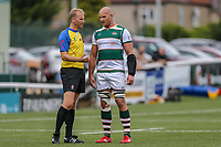 Sam Dickinson of Ealing Trailfinders speaks to Referee Mr Wayne Barnes during the Friendly match between Ealing Trailfinders and Dragons  at Castle Bar , West Ealing , England  on 11 August 2018. Photo by David Horn / PRiME Media Images.