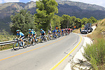 The peloton led by Astana Pro Team on the Cat 2 climb to Puerto de Confrides during Stage 2 of La Vuelta 2019 running 199.6km from Benidorm to Calpe, Spain. 25th August 2019.<br /> Picture: Ann Clarke | Cyclefile<br /> <br /> All photos usage must carry mandatory copyright credit (© Cyclefile | Ann Clarke)