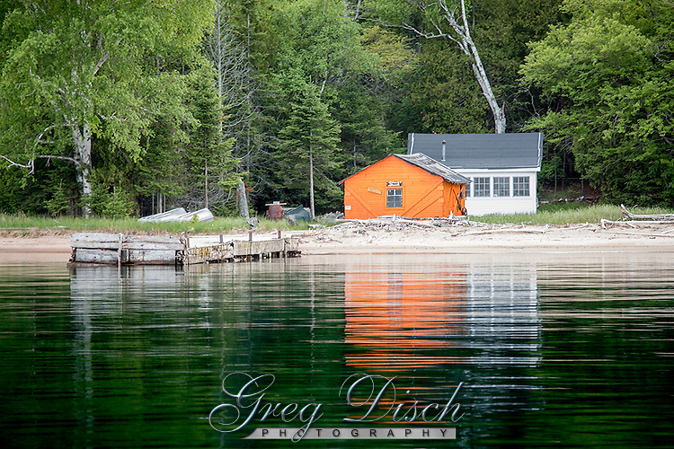 Rocky Island in the Apostle Islands National Lakeshore near Bayfield Wisconsin. A few private residences still reamain.