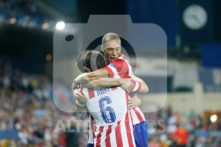 Atletico de Madrid's Koke (l) and Joao Miranda celebrate goal during Champions League 2013/2014 match.September 18,2013. (ALTERPHOTOS/Acero)