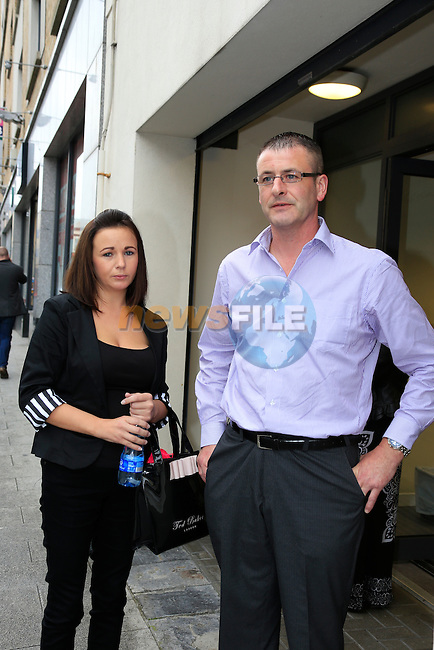 Fiona Tuite and Ivan Murphy arriving at Drogheda Coroners court for the inquest into the death of there baby Evan Murphy at Our Lady of Lourdes Hospital in Drogheda.<br /> Picture Fran Caffrey www.newsfile.ie