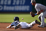 Reno Aces&rsquo; Dan Rohlfing dives safely into second base against Oklahoma City&rsquo;s Brandon Hicks at Greater Nevada Field in Reno, Nev., on Sunday, July 17, 2016.<br />Photo by Cathleen Allison