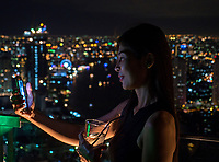 Bangkok city at night, Thailand Thai Girl taken selfie