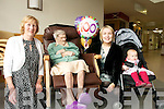 Shelia Fitzgerald (daughter in law), Sive Maguire (Granddaughter) and Eabha Hannah Maguire (great granddaughter) pictured with Hannah Mary Fitzgerald on her 100th birthday at Tralee Community Hospital on Wednesday.