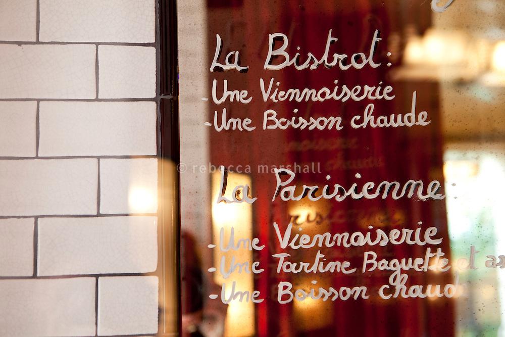 Menu deals on the mirror at Bouchon restaurant, Monaco, 23 March 2012