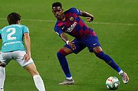 16th July 2020; Camp Nou, Barcelona, Catalonia, Spain; La Liga Football, Barcelona versus Osasuna;  Junior Firpo takes on the challenge from Nacho Vidal of osasuna