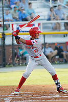 Greeneville Reds shortstop Miguel Hernandez (33) at bat during a game against the Burlington Royals at the Burlington Athletic Complex on July 7, 2018 in Burlington, North Carolina. Burlington defeated Greeneville 2-1. (Robert Gurganus/Four Seam Images)