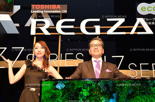 September 27, 2012, Tokyo, Japan - Masahiko Fukakushi, President and CEO of Toshiba's Digital. Corp. introduces new Japanese TV models, the Z7 series and J7 series, a large-screen 84-inch Quad Full HD(4K) resolution TV, brand new Windows 8 Ultrabook, and  new cloud services. (Photo by Tomoyuki Kaya/AFLO)