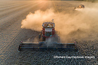 63801-13506 Combines harvesting soybeans in fall-aerial  Marion Co. IL