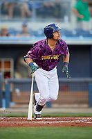 Charlotte Stone Crabs first baseman Nathaniel Lowe (36) follows through on a swing during a game against the Palm Beach Cardinals on April 21, 2018 at Charlotte Sports Park in Port Charlotte, Florida.  Charlotte defeated Palm Beach 5-2.  (Mike Janes/Four Seam Images)