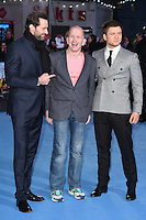 "Hugh Jackman, Eddie the Eagle Edwards and Taron Egerton<br /> at the ""Eddie the Eagle"" European premiere, Odeon Leicester Square London<br /> <br /> <br /> ©Ash Knotek  D3099 17/03/2016"