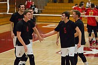 STANFORD, CA - January 2, 2018: Eric Beatty, Kevin Rakestraw, Jacob Thoenen, JP Reilly, Eli Wopat at Burnham Pavilion. The Stanford Cardinal defeated the Calgary Dinos 3-1.