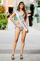 17/9/2010. Miss Ireland contestants. Miss Offaly Clodagh O Brien is pictured at St Stephens Green. the 35 Miss Ireland contestants officially unveiled in their swimwear and sashes for the 1st time at Stephen's Green Shopping Centre,  Dublin. Picture James Horan/Collins Photos