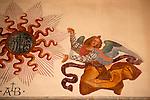 A 15th century fresco of an angel in the Santa Maria delle Grazie Church in Gravedona, a town on Lake Como Italy