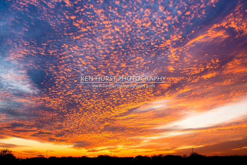 Majestic and colorful sunset from rural Texas countryside.