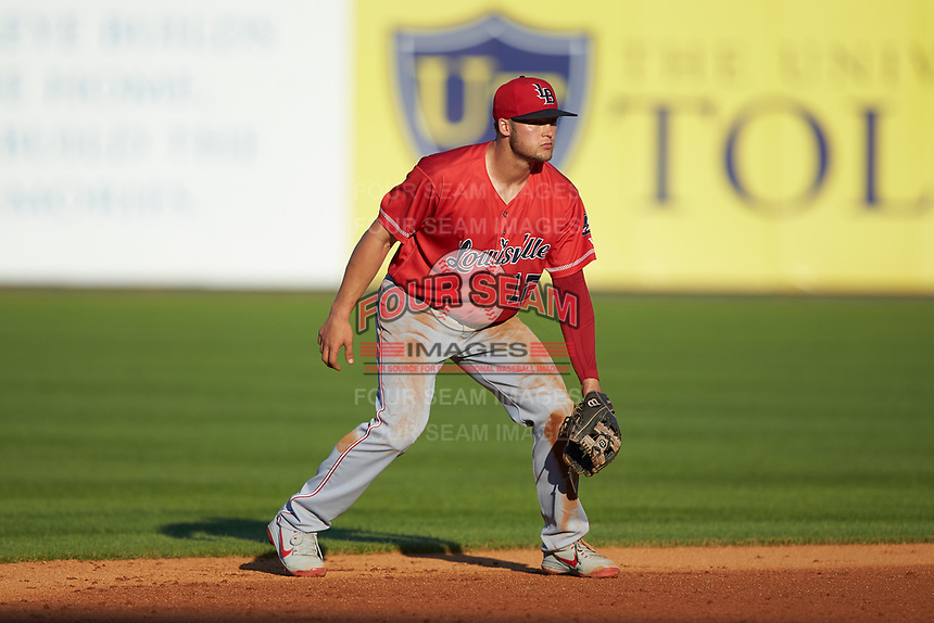 Louisville Bats shortstop Nick Senzel (12) on defense against the Toledo Mud Hens at Fifth Third Field on June 16, 2018 in Toledo, Ohio. The Mud Hens defeated the Bats 7-4.  (Brian Westerholt/Four Seam Images)