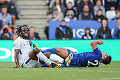 9th September 2017, King Power Stadium, Leicester, England; EPL Premier League Football, Leicester City versus Chelsea; Matthew James of Leicester City and Victor Moses of Chelsea collide in midfield