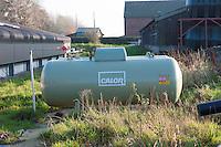 Calor gas tank outside a poultry unit, Lancashire.