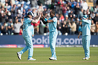 Ben Stokes (England) congratulates Jofra Archer (England) on the dismissal of Mustafizur Rahman (Bangladesh) to wrap up the match during England vs Bangladesh, ICC World Cup Cricket at Sophia Gardens Cardiff on 8th June 2019