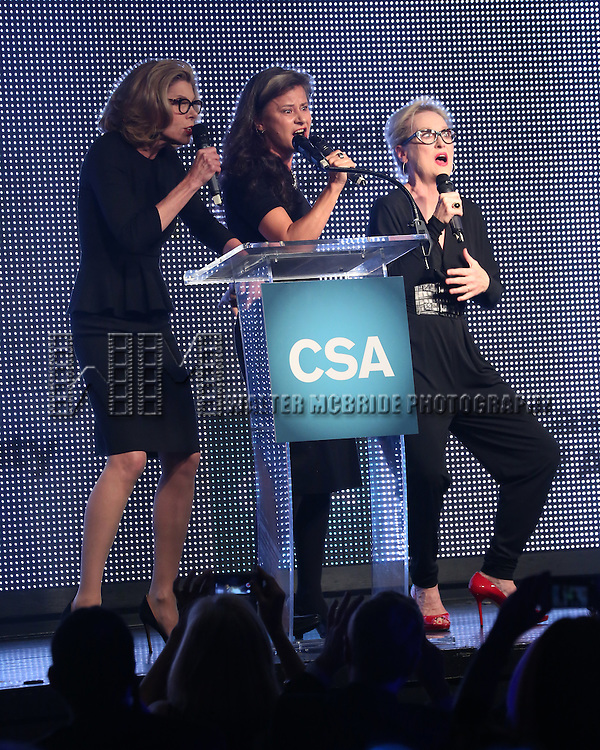 Christine Baranski, Tracey Ullman and Meryl Streep presents  Rob Marshall with the New York Apple Award during the 30th Annual Artios Awards Presentation at 42 WEST on January 22, 2015 in New York City.