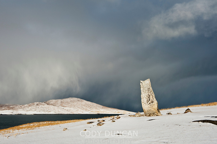Macleod's stone standing stone in winter, Isle of Harris, Outer Hebrides, Scotland