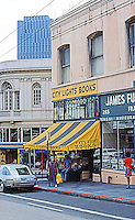 San Francisco:   North Beach, City Lights Books,  a world-famous beat-nik era bookstore.  Declared historic landmark in 2001, both the building and business.  Photo '76.