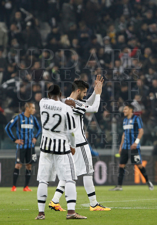 Calcio, semifinali di andata di Coppa Italia: Juventus vs Inter. Torino, Juventus Stadium, 27 gennaio 2016.<br /> Juventus&rsquo; Alvaro Morata, center, celebrates after scoring on a penalty kick during the Italian Cup semifinal first leg football match between Juventus and FC Inter at Juventus stadium, 27 January 2016.<br /> UPDATE IMAGES PRESS/Isabella Bonotto