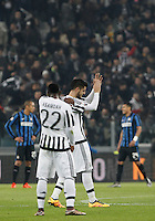 Calcio, semifinali di andata di Coppa Italia: Juventus vs Inter. Torino, Juventus Stadium, 27 gennaio 2016.<br /> Juventus' Alvaro Morata, center, celebrates after scoring on a penalty kick during the Italian Cup semifinal first leg football match between Juventus and FC Inter at Juventus stadium, 27 January 2016.<br /> UPDATE IMAGES PRESS/Isabella Bonotto