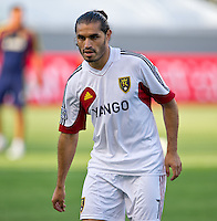 CARSON, CA - June 16, 2012: Real Salt Lake forward Fabian Espindola (7) prior to the Chivas USA vs Real Salt Lake match at the Home Depot Center in Carson, California. Final score Real Salt Lake 3, Chivas USA 0.