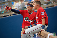 Fort Myers Miracle Royce Lewis (1) talks with Trevor Larnach (9) during a Florida State League game against the Charlotte Stone Crabs on April 6, 2019 at Charlotte Sports Park in Port Charlotte, Florida.  Fort Myers defeated Charlotte 7-4.  (Mike Janes/Four Seam Images)