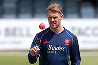Jamie Porter of Essex keeps a close eye on the pink ball during Essex CCC vs Middlesex CCC, Specsavers County Championship Division 1 Cricket at The Cloudfm County Ground on 26th June 2017