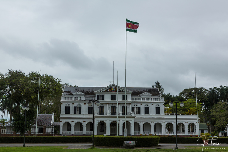 The Suriname Presidential Palace in Paramaribo, Suriname was built about 1730 and served first as the residence of the colonial governor.  Listed as a UNESCO World Heritage Site.