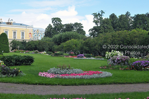 Pushkintown, Russia - August 14, 2009 -- View of some of the gardens outside Catherine's Palace in Pushkintown (also known as Zarskoye Selo or Tsar's village) in Pushkintown, Russia on Friday, August 14, 2009.  .Credit: Ron Sachs / CNP