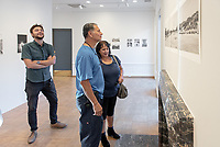 Opening Reception for South of Fletcher: Stories from the Bowtie, Sept. 13, 2018 at the Weingart Gallery. South of Fletcher: Stories from the Bowtie is a multi-platform storytelling project by Fonografia Collective, produced by Clockshop. Ruxandra Guidi and Bear Guerra have been working at the Bowtie parcel for the past year, talking to people who frequent the site, and learning more about the historic, present day, and potential uses of this unique plot of land next to the LA River. Their research will unfold through a podcast series, three public discussions, and an exhibition of photography at Occidental College. Sponsored by Oxy Arts.<br /> (Photo by Marc Campos, Occidental College Photographer)